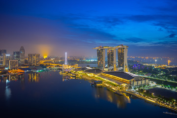Wall Mural - View of Singapore city skyline at night