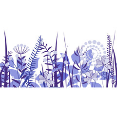 Wall Mural - Vector seamless border of hand drawn wildflowers. Blue palette