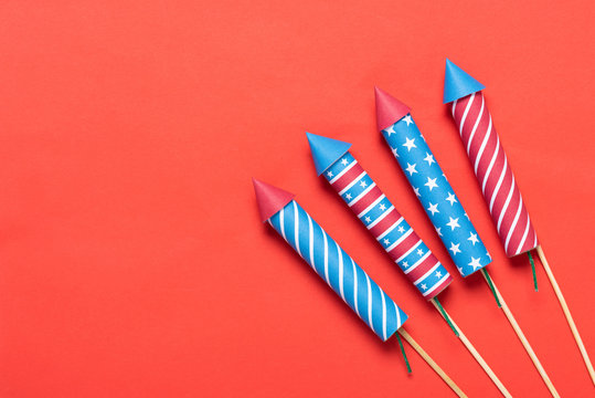 4th of July fireworks on red background Independence Day banner