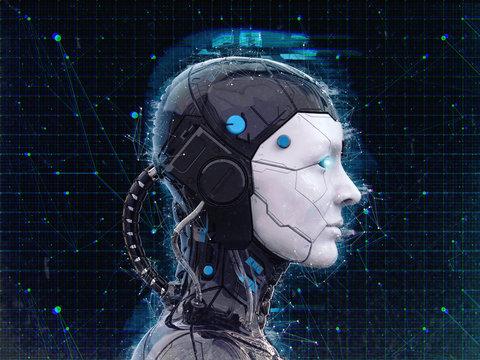 Humanoid robot girl Artificial intelligence Background - 3d render