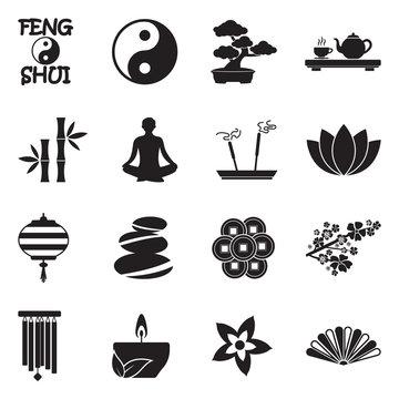 Feng Shui Icons. Black Flat Design. Vector Illustration.