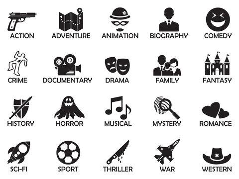 Film Genres Icons. Black Flat Design. Vector Illustration.