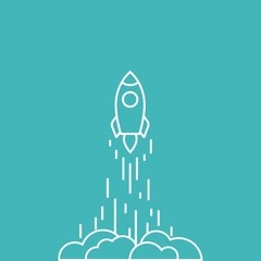 Rocket line ship with fire and clouds. Isolated on blue background. Flat linear vector illustration with flying shuttle.