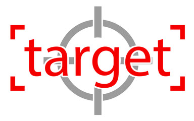 Red target word with scope icon