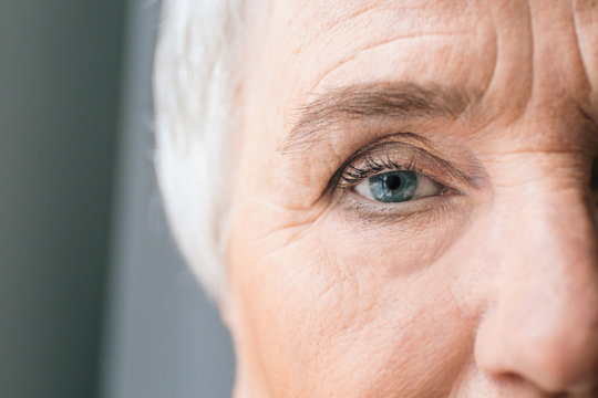 Face of elderly woman, closeup