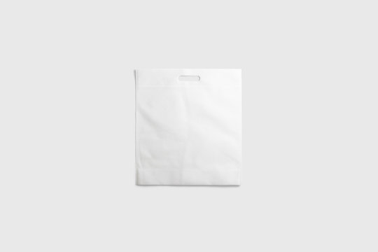 White Paper Bag Mock up isolated on light gray background.Realistic photo.3D rendering.