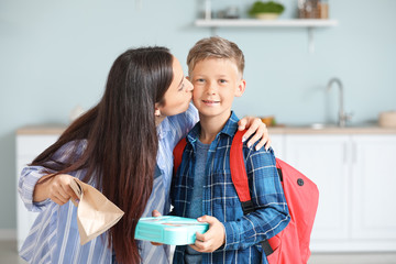 Mother and her little son with with school lunch in morning at home