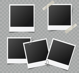 Collection of vector retro blank photo frames with transparent shadow effects