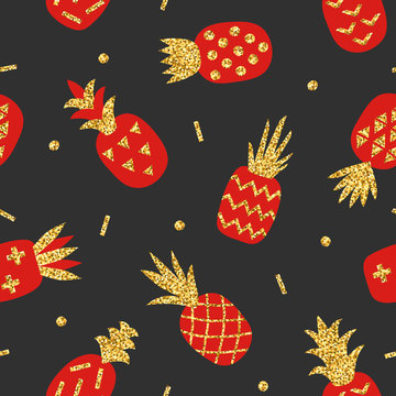 Creative seamless pattern of red pineapple with gold glitter texture on black background. Geometric ornament, stylish background. Vector illustration with hand drawn cute pineapple