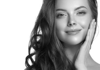Monochrome beauty woman face closeup