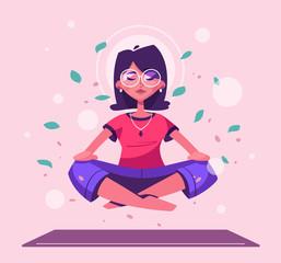 Obraz Meditation health benefits for body, mind and emotions. Cartoon vector illustration - fototapety do salonu