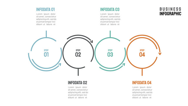 Vector Infographics. Timeline with 4 steps, circles. Vector linear infographic element.