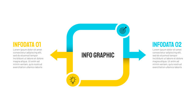 Vector square and arrow design element for infographic. Business concept with 2 options, steps, marketing icons.