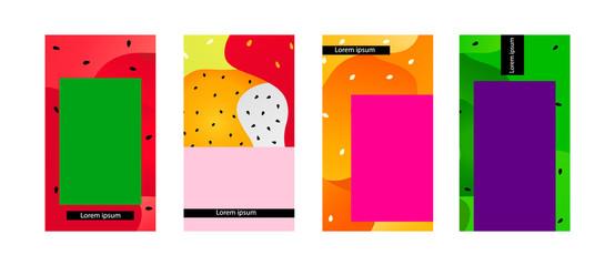 Tropical summer fruits social network creative background set. Social media stories template design .