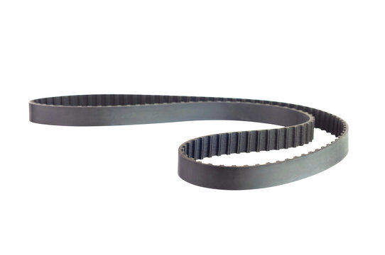 New black rubber circle toothed automotive timing belt isolated on white background without shadow