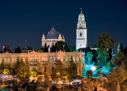 Israel, Jerusalem, Mount Zion night.