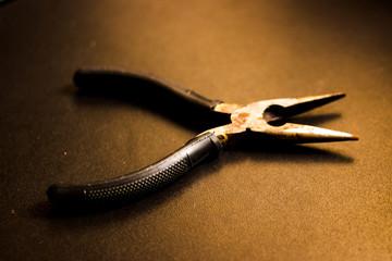 Rusty pliers opened