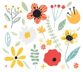 Early spring forest and garden flower.Set of decorative floral design elements. Flat cartoon vector illustration.