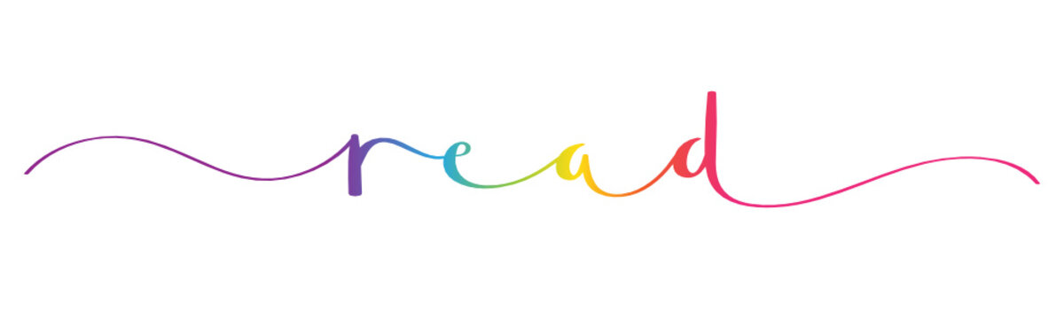 READ rainbow vector brush calligraphy banner