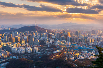 Aerial view of Sunset at Seoul City Skyline,South Korea. Wall mural