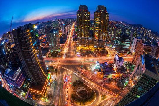 Traffic at Night in Seoul City,South Korea