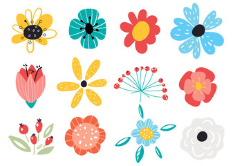 Set of decorative floral design elements. Flat cartoon vector illustration. Illustration of nature flower spring and summer in garden. Fototapete