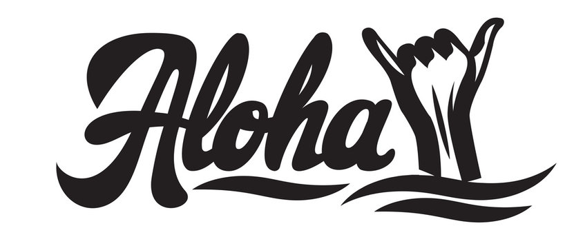Vector monochrome illustration with stylish inscription Aloha and hand