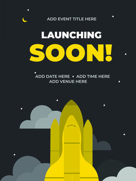 Start up launching soon, Grand Opening, with Rocket and clouds, Product or website coming soon, Store opening soon. Vector illustration