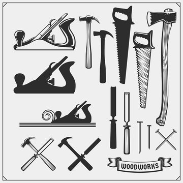 Set of woodworking and carpentry wood work tools. Carpentry Shop design. Black and white vector illustration.
