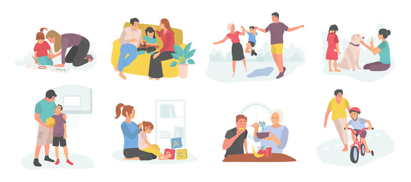 Family spending time with child vector, mother and father with kid teaching how to ride bicycle and care for pet dog, isolated parents and son kiddo