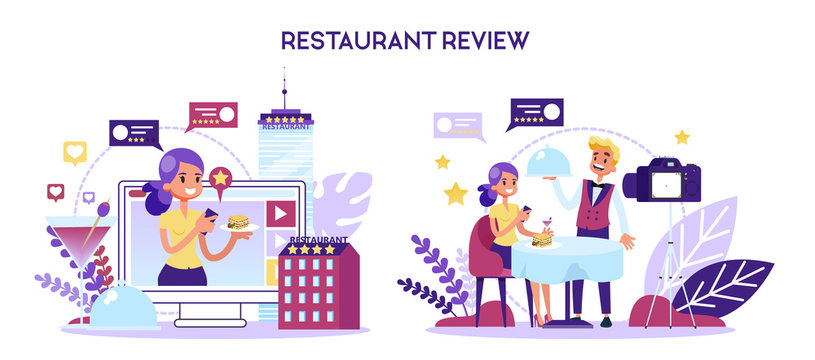 Blogger making restaurant review in the video. Customer