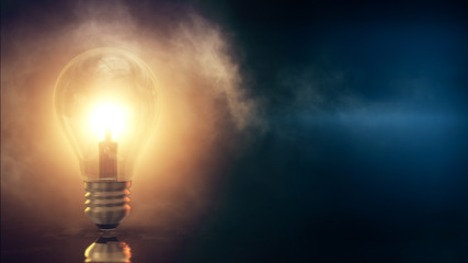 3d rendered illustration of Light Bulb with foggy blue Background