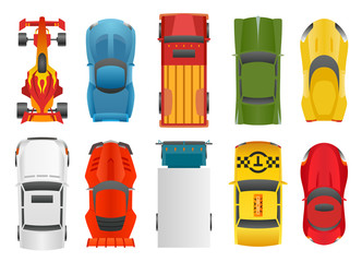 Fotobehang Illustraties Sport and Racing Cars Top View DecorativeIcons Set Isolated Vector Illustration.