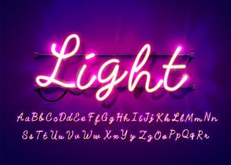Neon tube hand drawn alphabet font. Script type letters on a dark background. Vector typeface for labels, titles or posters.