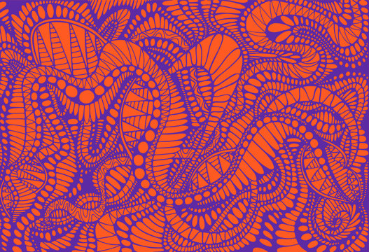 Abstract pattern, ethno style, stylish background, purple color line, isolated on orange background. Vector hand drawn illustration.