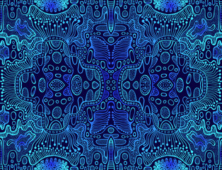 Vintage psychedelic tryppi colorful fractal pattern. Gradient blue, dark blue colors. Decorative surreal abstract mandala with maze of ornament shamanic fantasy texture.