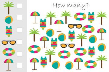 How many counting game with summer beach picture for kids, educational maths task for the development of logical thinking, preschool worksheet activity, count and write the result, vector illustration