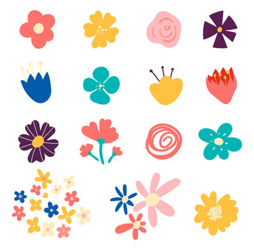 Set of flowers and floral elements isolated on white background. Set of cute hand-drawn Spring flowers. Many bright and beautiful flowers.