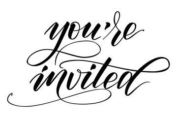 Handwritten modern brush calligraphy You are Invited isolated on white for wedding invitation. Vector illustration.