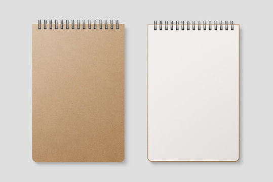 Blank realistic spiral bound notepad mockup with Kraft Paper cover on light grey background. High resolution. - Immagine