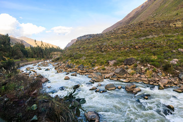Urubamba or Vilcanota River running alongside the Inca Trail to Machu Picchu, near Cusco, in the Andes of Peru