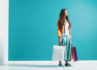 Wall Mural - Young stylish woman with shopping bags