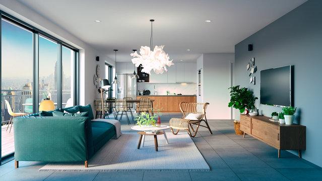 3d beautiful interior living room render