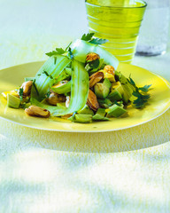 Mussel salad with avocado and cucumber