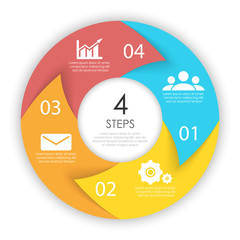 Сircle arrows for infographic. Business concept with 4 options, steps or processes. Vector pie charts.