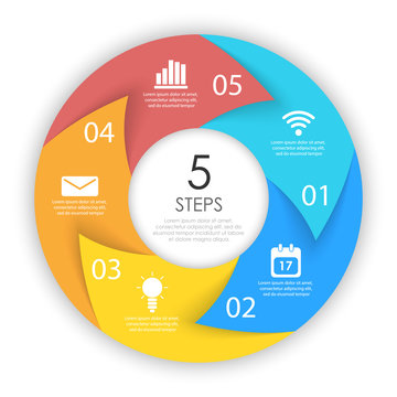 Сircle arrows for infographic. Business concept with 5 options, steps or processes. Vector pie charts.