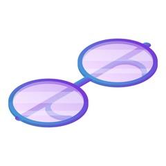 Round eyeglasses icon. Isometric of round eyeglasses vector icon for web design isolated on white background