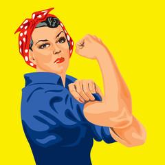 Symbole du féminisme, une femme retrousse les manches de sa chemise pour se mettre au travail et apporter sa contribution à l'effort national. We can do it.