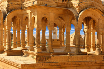 Fototapete - interior architecture of ancient royal cenotaphs and archaeological ruins at Jaisalmer, Bada Bagh, Rajasthan, India