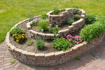 herb spiral in the garden